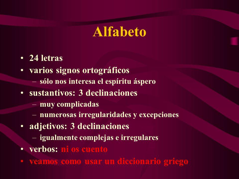 Alfabeto 24 letras varios signos ortográficos –sólo nos interesa el espíritu áspero sustantivos: 3 declinaciones –muy complicadas –numerosas irregular