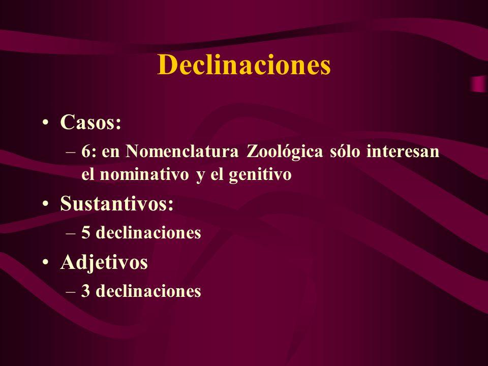 Declinaciones Casos: –6: en Nomenclatura Zoológica sólo interesan el nominativo y el genitivo Sustantivos: –5 declinaciones Adjetivos –3 declinaciones