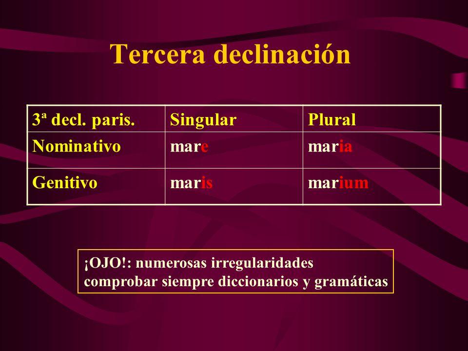 Tercera declinación Imparisílabos; son: –masculinos en -o, -or, -os: sermo, honor, flos –femeninos en -tio, -sio, -xio, -go, -do, -tas, -trix: venatio, defensio, crucifixio, origo, consuetudo, veritas, genitrix –neutros en -us, -men, -ur: corpus, flumen, robur Numerosas irregularidades, incluso en nombres comunes: bos, iter, sus, etc.: ¡diccionario y gramática!