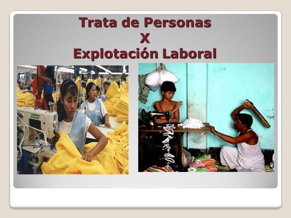 Tanto la Trata de Personas y la Explotación Laboral tienen como fin la explotación .
