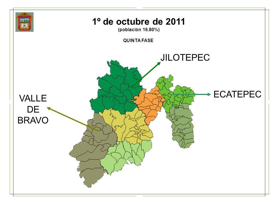 ECATEPEC JILOTEPEC VALLE DE BRAVO 1º de octubre de 2011 (población 16.80%) QUINTA FASE