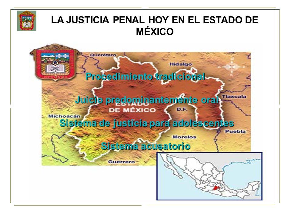 LA JUSTICIA PENAL HOY EN EL ESTADO DE MÉXICO Procedimiento tradicional Juicio predominantemente oral Juicio predominantemente oral Sistema de justicia