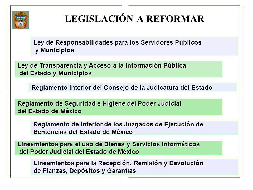 LEGISLACIÓN A REFORMAR Ley de Responsabilidades para los Servidores Públicos y Municipios y Municipios Ley de Transparencia y Acceso a la Información