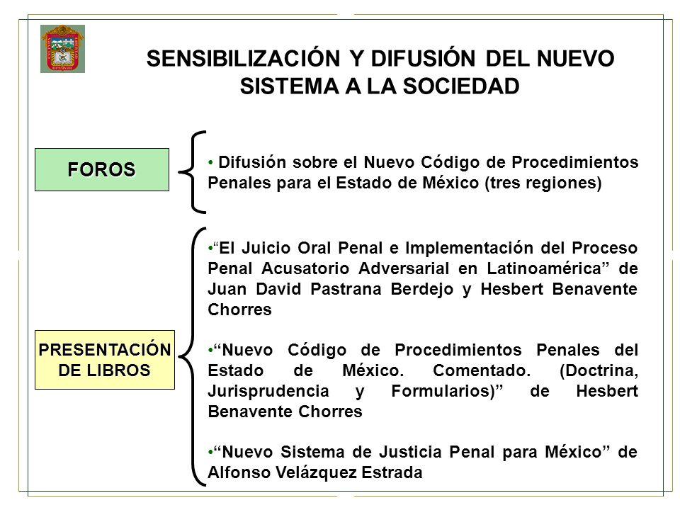 Difusión sobre el Nuevo Código de Procedimientos Penales para el Estado de México (tres regiones) El Juicio Oral Penal e Implementación del Proceso Pe
