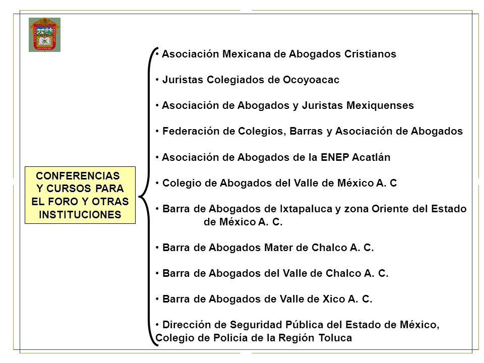 Asociación Mexicana de Abogados Cristianos Juristas Colegiados de Ocoyoacac Asociación de Abogados y Juristas Mexiquenses Federación de Colegios, Barr
