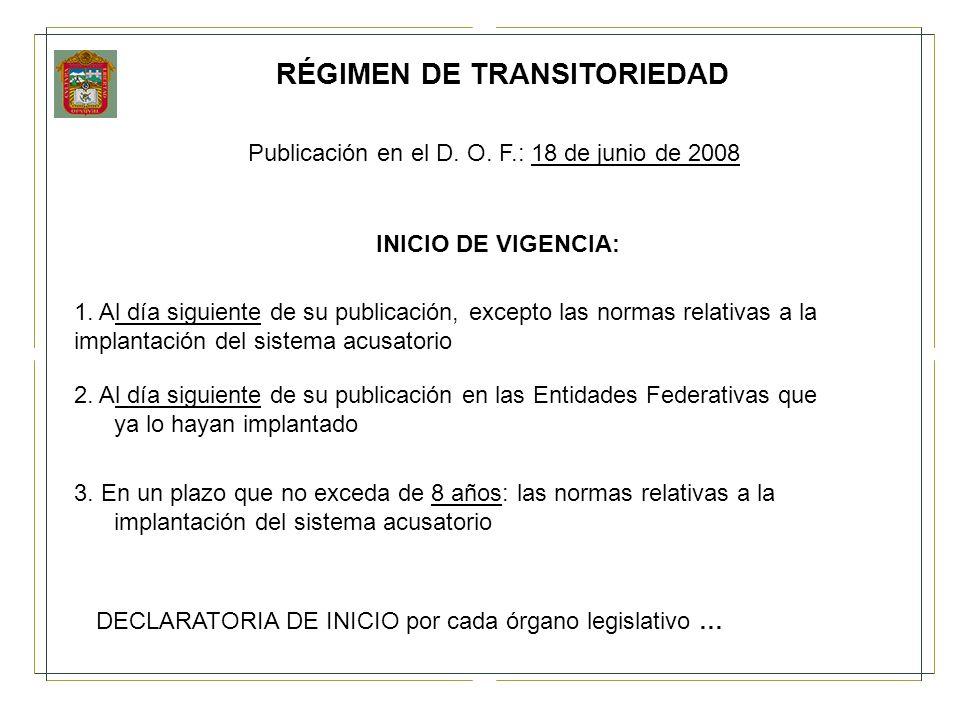 RÉGIMEN DE TRANSITORIEDAD Publicación en el D. O. F.: 18 de junio de 2008 INICIO DE VIGENCIA: 1. Al día siguiente de su publicación, excepto las norma