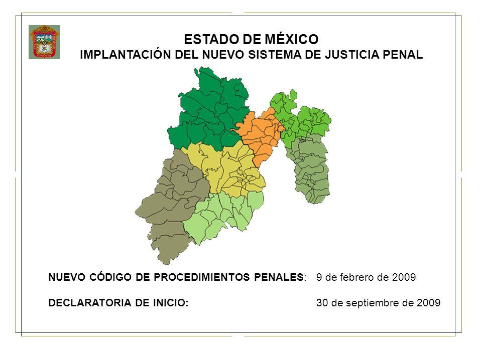 ESTADO DE MÉXICO IMPLANTACIÓN DEL NUEVO SISTEMA DE JUSTICIA PENAL NUEVO CÓDIGO DE PROCEDIMIENTOS PENALES: 9 de febrero de 2009 DECLARATORIA DE INICIO: