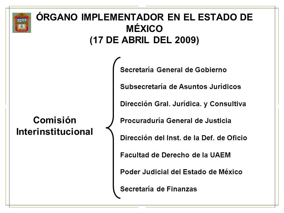 ÓRGANO IMPLEMENTADOR EN EL ESTADO DE MÉXICO (17 DE ABRIL DEL 2009) ComisiónInterinstitucional Secretaría General de Gobierno Subsecretaría de Asuntos