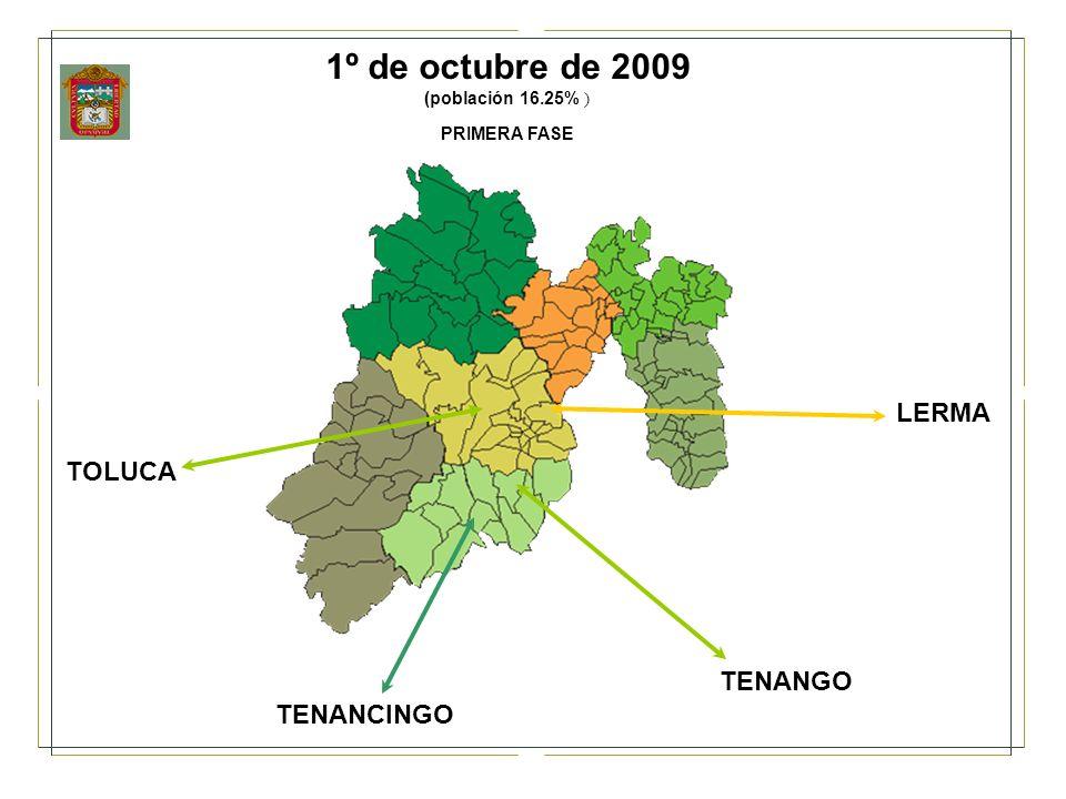 1º de octubre de 2009 (población 16.25% ) PRIMERA FASE LERMA TOLUCA TENANGO TENANCINGO