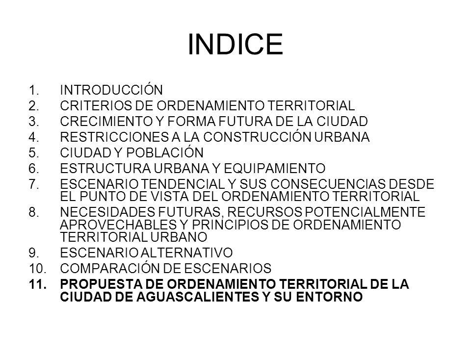INTRODUCCIÓN PROPUESTA DE ORDENAMIENTO TERRITORIAL DE LA CIUDAD DE AGUASCALIENTES Y SU ENTORNO COMPARACIÓN DE ESCENARIOS RESTRICCIONES A LA CONSTRUCCIÓN URBANA CRITERIOS DE ORDENAMIENTO TERRITORIAL CRECIMIENTO Y FORMA FUTURA DE LA CIUDAD CIUDAD Y POBLACIÓN ESTRUCTURA URBANA Y EQUIPAMIENTO NECESIDADES FUTURAS, RECURSOS POTENCIALMENTE APROVECHABLES Y PRINCIPIOS DE ORDENAMIENTO TERRITORIAL URBANO ESCENARIO ALTERNATIVO ESCENARIO TENDENCIAL Y SUS CONSECUENCIAS DESDE EL PUNTO DE VISTA DEL ORDENAMIENTO TERRITORIAL