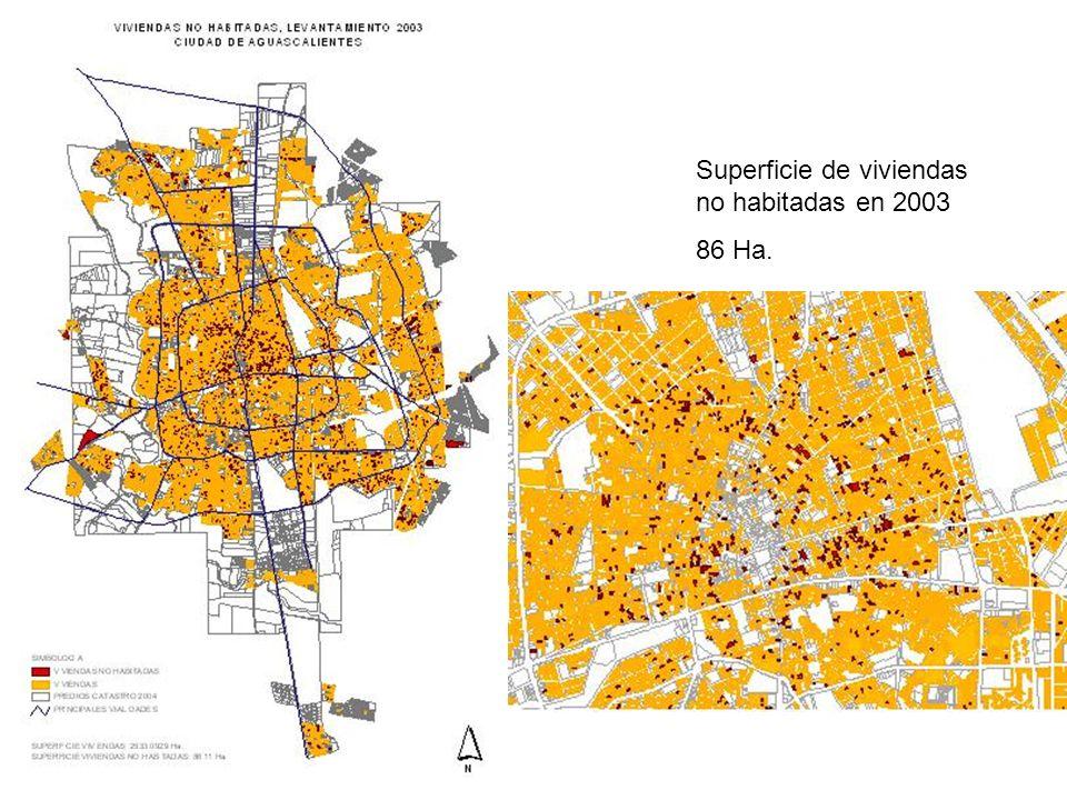 Superficie de viviendas no habitadas en 2003 86 Ha.