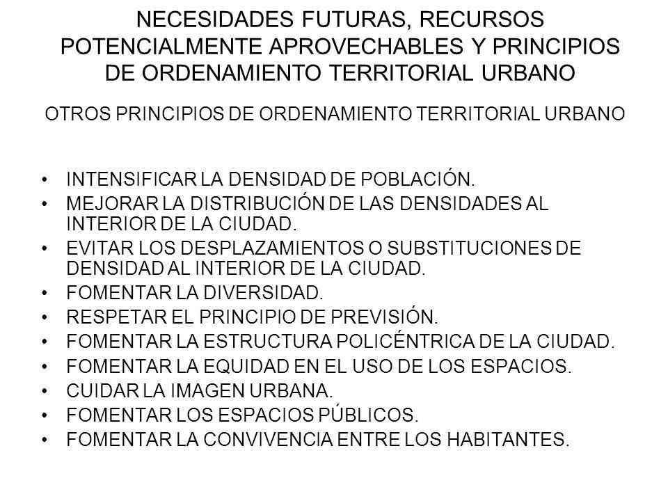 OTROS PRINCIPIOS DE ORDENAMIENTO TERRITORIAL URBANO NECESIDADES FUTURAS, RECURSOS POTENCIALMENTE APROVECHABLES Y PRINCIPIOS DE ORDENAMIENTO TERRITORIA