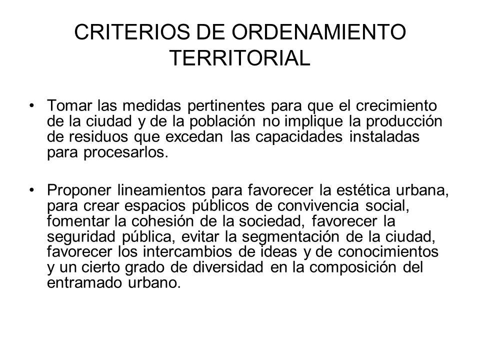 CRITERIOS DE ORDENAMIENTO TERRITORIAL Tomar las medidas pertinentes para que el crecimiento de la ciudad y de la población no implique la producción d