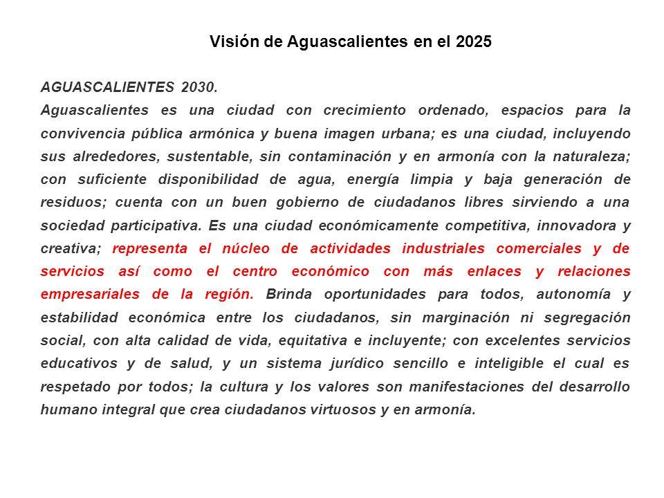 Visión de Aguascalientes en el 2025 AGUASCALIENTES 2030. Aguascalientes es una ciudad con crecimiento ordenado, espacios para la convivencia pública a
