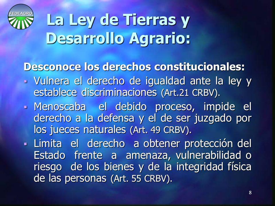 29 La Ley de Tierras y Desarrollo Agrario: La Ley de Tierras y Desarrollo Agrario: La Asamblea Nacional debe impedir la aplicación de la Ley.