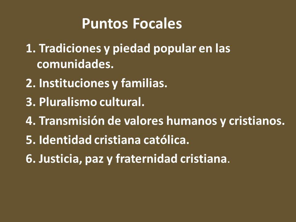 1. Tradiciones y piedad popular en las comunidades. 2. Instituciones y familias. 3. Pluralismo cultural. 4. Transmisión de valores humanos y cristiano
