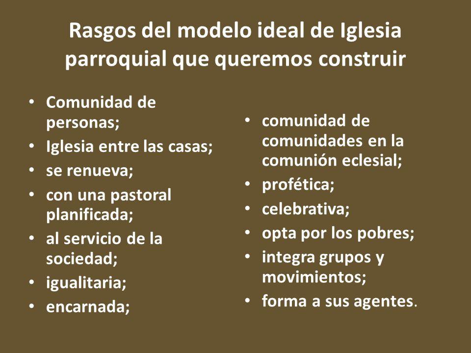 Rasgos del modelo ideal de Iglesia parroquial que queremos construir Comunidad de personas; Iglesia entre las casas; se renueva; con una pastoral plan