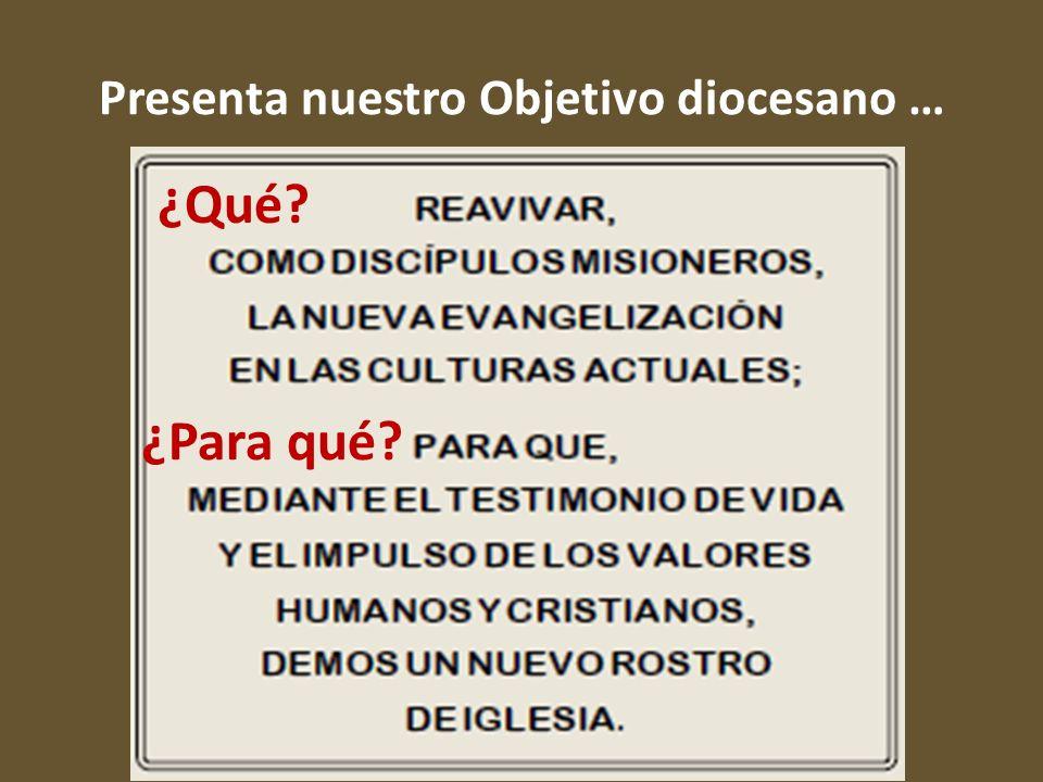 Presenta nuestro Objetivo diocesano … ¿Qué? ¿Para qué?