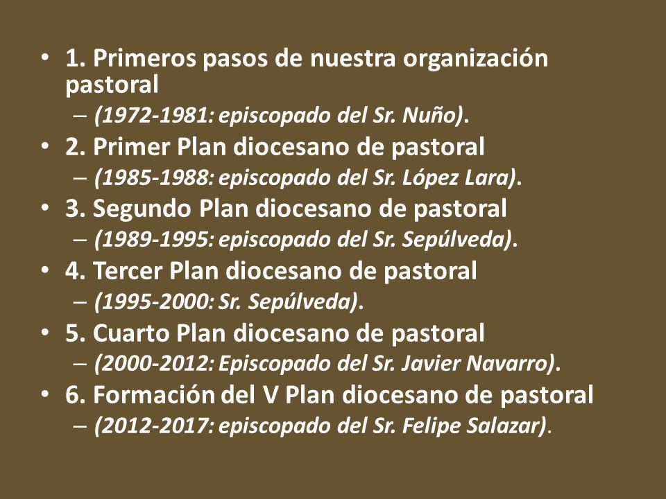 1. Primeros pasos de nuestra organización pastoral – (1972-1981: episcopado del Sr. Nuño). 2. Primer Plan diocesano de pastoral – (1985-1988: episcopa