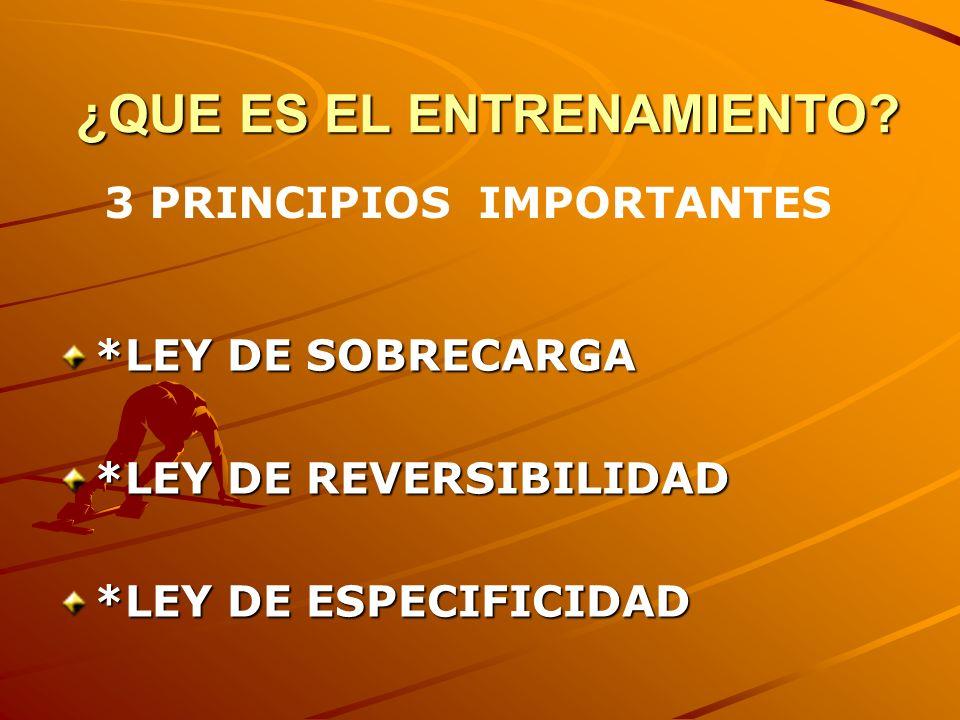 ¿QUE ES EL ENTRENAMIENTO? ¿QUE ES EL ENTRENAMIENTO? *LEY DE SOBRECARGA *LEY DE REVERSIBILIDAD *LEY DE ESPECIFICIDAD 3 PRINCIPIOS IMPORTANTES