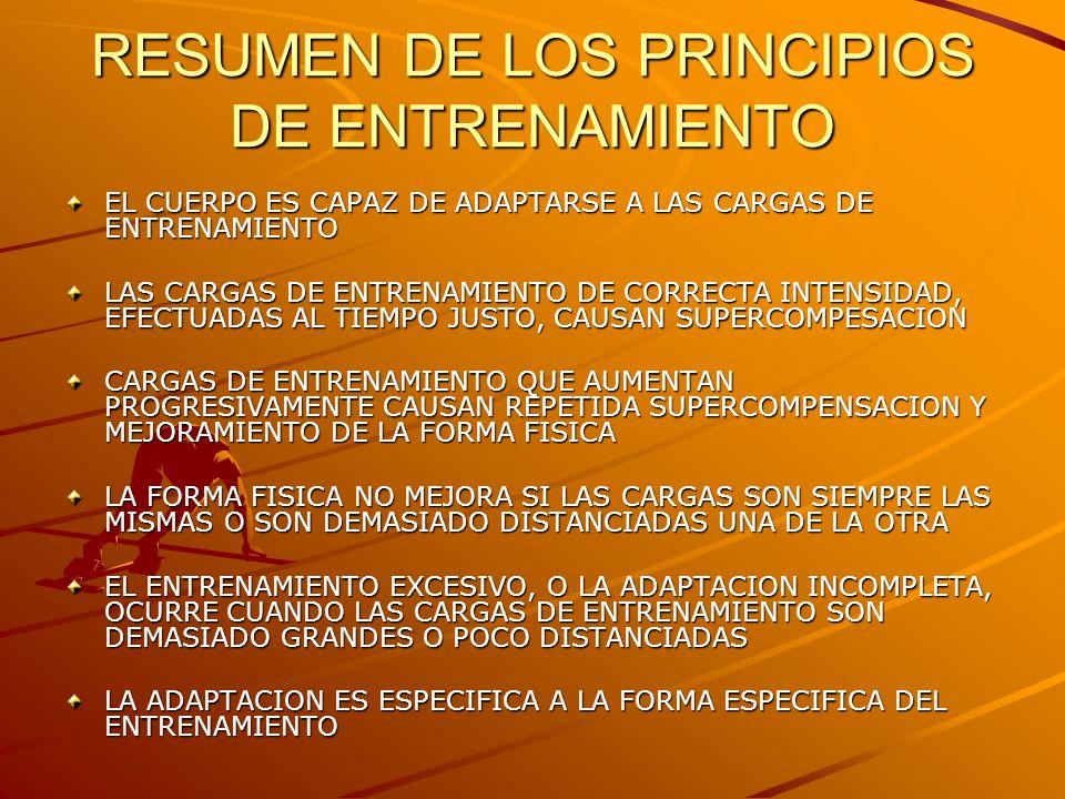 RESUMEN DE LOS PRINCIPIOS DE ENTRENAMIENTO EL CUERPO ES CAPAZ DE ADAPTARSE A LAS CARGAS DE ENTRENAMIENTO LAS CARGAS DE ENTRENAMIENTO DE CORRECTA INTEN
