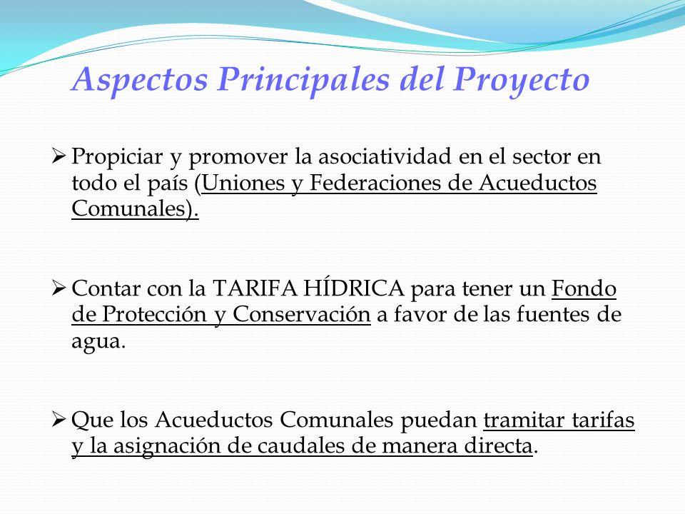 Aspectos Principales del Proyecto Propiciar y promover la asociatividad en el sector en todo el país (Uniones y Federaciones de Acueductos Comunales).