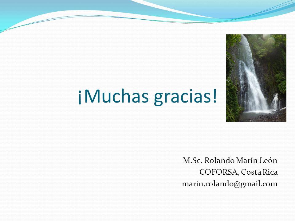 ¡Muchas gracias! M.Sc. Rolando Marín León COFORSA, Costa Rica marin.rolando@gmail.com