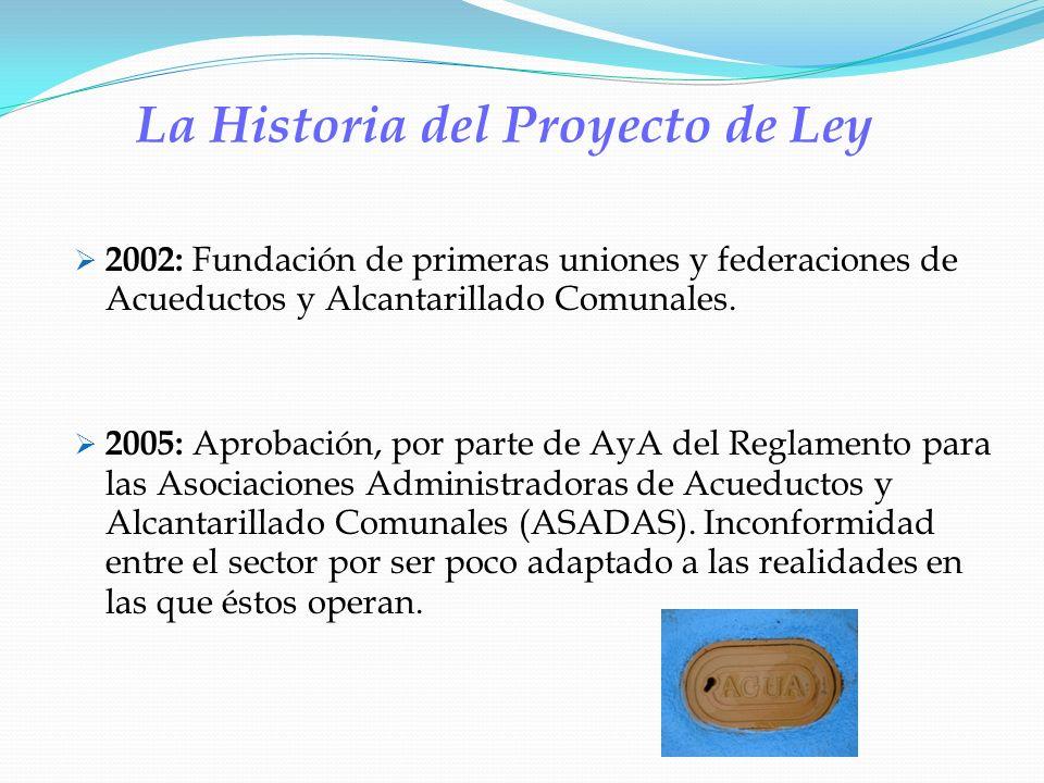 La Historia del Proyecto de Ley 2002: Fundación de primeras uniones y federaciones de Acueductos y Alcantarillado Comunales. 2005: Aprobación, por par