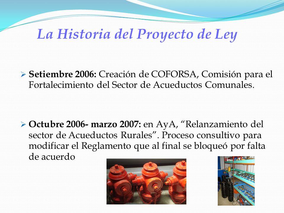 La Historia del Proyecto de Ley Setiembre 2006: Creación de COFORSA, Comisión para el Fortalecimiento del Sector de Acueductos Comunales. Octubre 2006