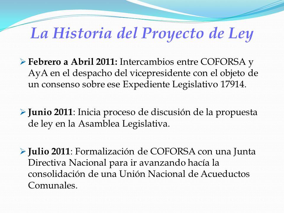 La Historia del Proyecto de Ley Febrero a Abril 2011: Intercambios entre COFORSA y AyA en el despacho del vicepresidente con el objeto de un consenso