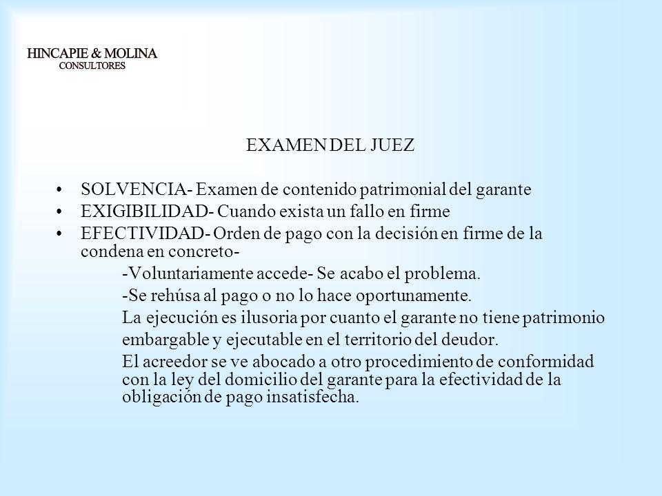 EXAMEN DEL JUEZ SOLVENCIA- Examen de contenido patrimonial del garante EXIGIBILIDAD- Cuando exista un fallo en firme EFECTIVIDAD- Orden de pago con la