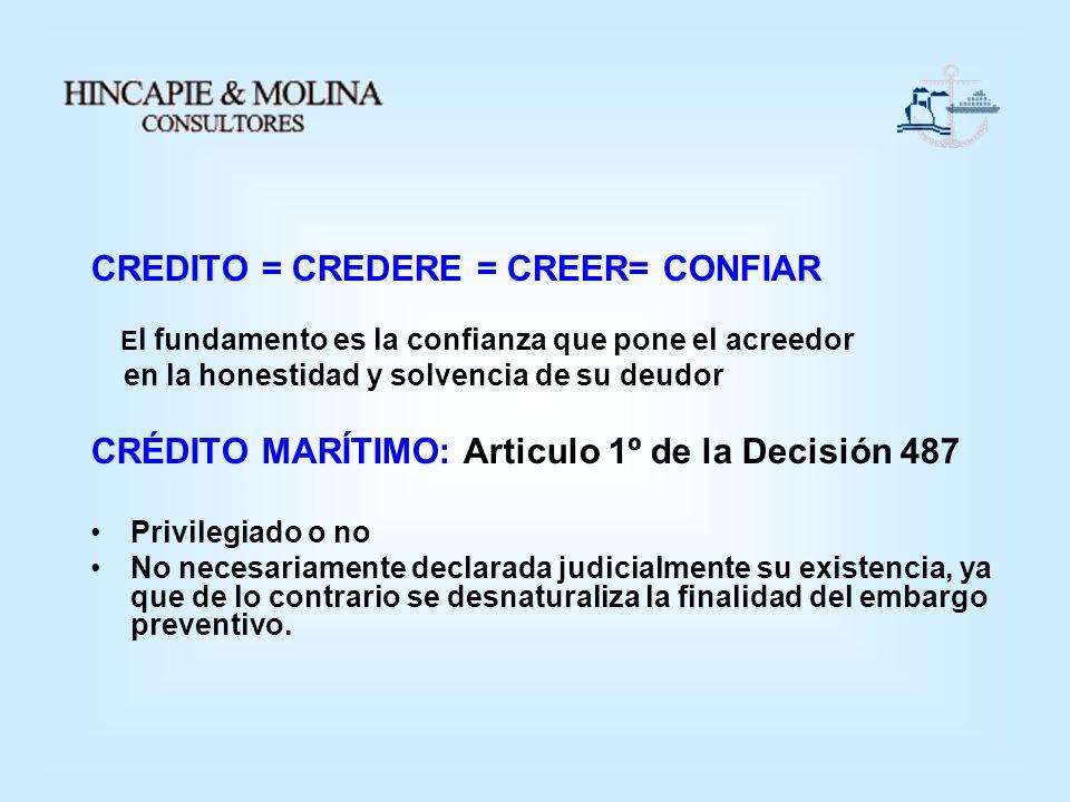 CREDITO = CREDERE = CREER= CONFIAR E l fundamento es la confianza que pone el acreedor en la honestidad y solvencia de su deudor CRÉDITO MARÍTIMO: Art
