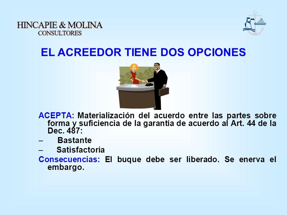 ACEPTA: Materialización del acuerdo entre las partes sobre forma y suficiencia de la garantía de acuerdo al Art. 44 de la Dec. 487: – Bastante – Satis