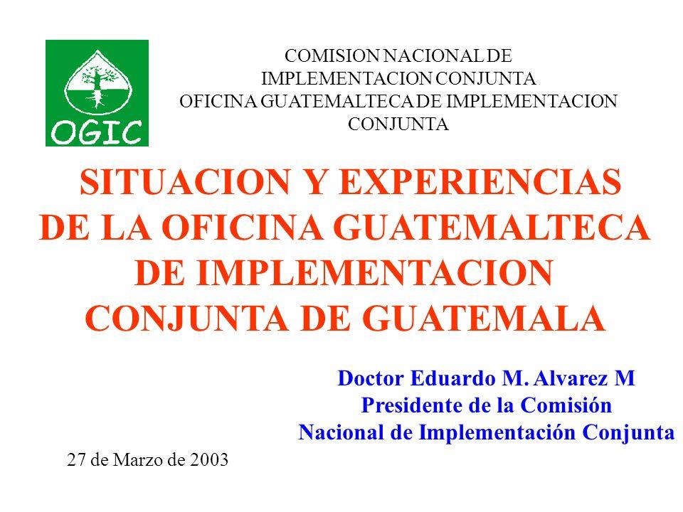 COMISION NACIONAL DE IMPLEMENTACION CONJUNTA OFICINA GUATEMALTECA DE IMPLEMENTACION CONJUNTA SITUACION Y EXPERIENCIAS DE LA OFICINA GUATEMALTECA DE IMPLEMENTACION CONJUNTA DE GUATEMALA Doctor Eduardo M.