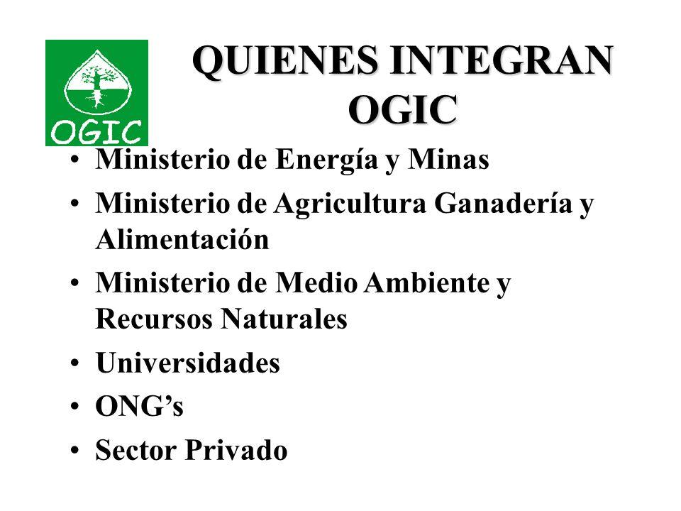 QUIENES INTEGRAN OGIC Ministerio de Energía y Minas Ministerio de Agricultura Ganadería y Alimentación Ministerio de Medio Ambiente y Recursos Naturales Universidades ONGs Sector Privado