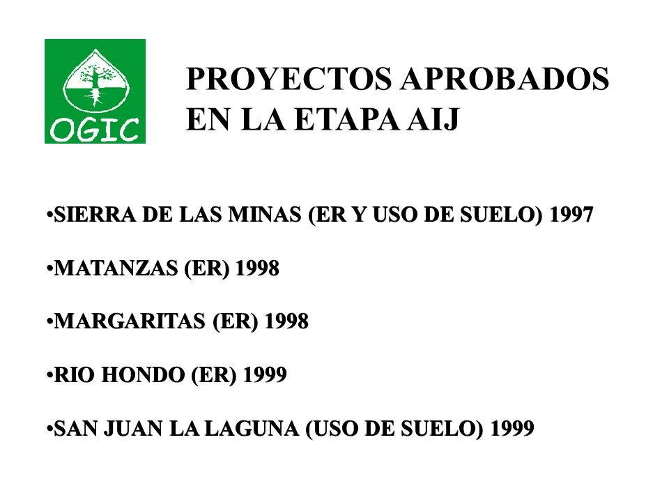 SIERRA DE LAS MINAS (ER Y USO DE SUELO) 1997 MATANZAS (ER) 1998 MARGARITAS (ER) 1998 RIO HONDO (ER) 1999 SAN JUAN LA LAGUNA (USO DE SUELO) 1999 SIERRA DE LAS MINAS (ER Y USO DE SUELO) 1997 MATANZAS (ER) 1998 MARGARITAS (ER) 1998 RIO HONDO (ER) 1999 SAN JUAN LA LAGUNA (USO DE SUELO) 1999 PROYECTOS APROBADOS EN LA ETAPA AIJ
