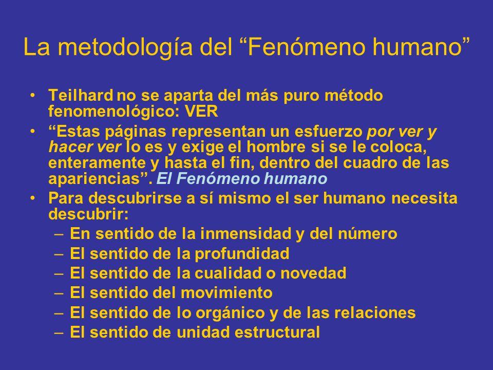 La metodología del Fenómeno humano Teilhard no se aparta del más puro método fenomenológico: VER Estas páginas representan un esfuerzo por ver y hacer