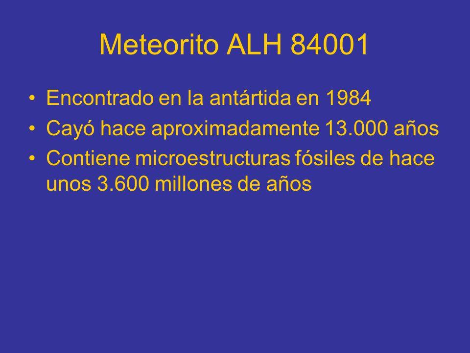 Meteorito ALH 84001 Encontrado en la antártida en 1984 Cayó hace aproximadamente 13.000 años Contiene microestructuras fósiles de hace unos 3.600 mill