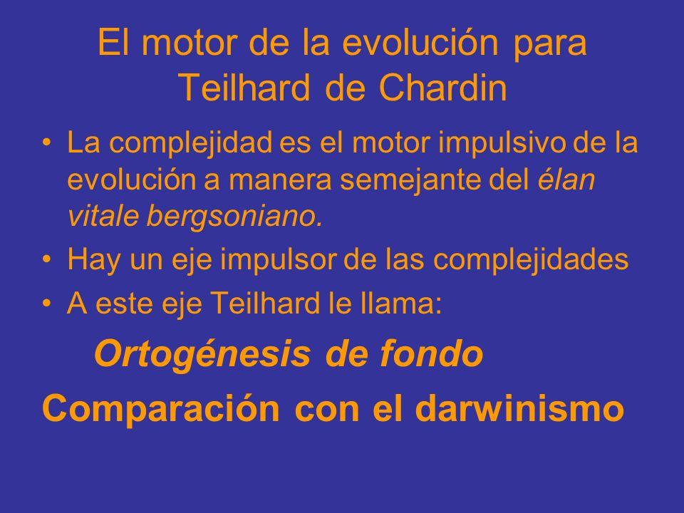 El motor de la evolución para Teilhard de Chardin La complejidad es el motor impulsivo de la evolución a manera semejante del élan vitale bergsoniano.