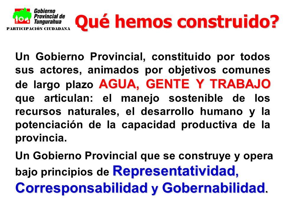 AGUA, GENTE Y TRABAJO Un Gobierno Provincial, constituido por todos sus actores, animados por objetivos comunes de largo plazo AGUA, GENTE Y TRABAJO q