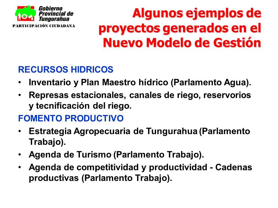 RECURSOS HIDRICOS Inventario y Plan Maestro hídrico (Parlamento Agua). Represas estacionales, canales de riego, reservorios y tecnificación del riego.