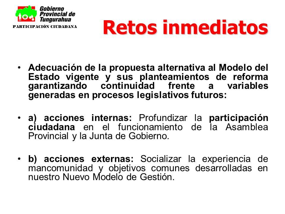 Retos inmediatos Adecuación de la propuesta alternativa al Modelo del Estado vigente y sus planteamientos de reforma garantizando continuidad frente a