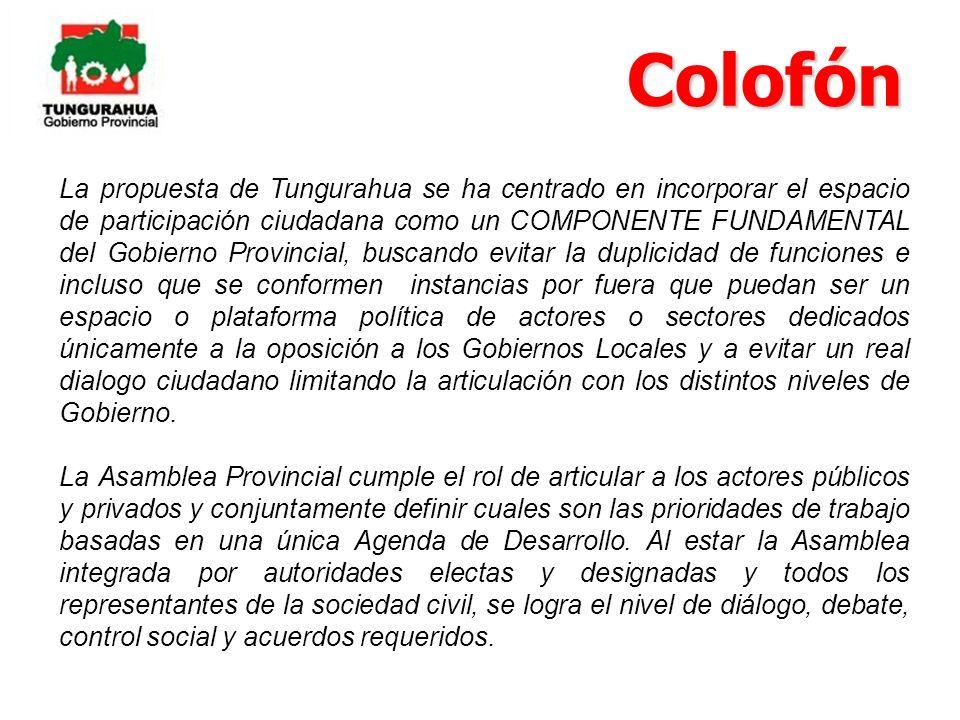 La propuesta de Tungurahua se ha centrado en incorporar el espacio de participación ciudadana como un COMPONENTE FUNDAMENTAL del Gobierno Provincial,