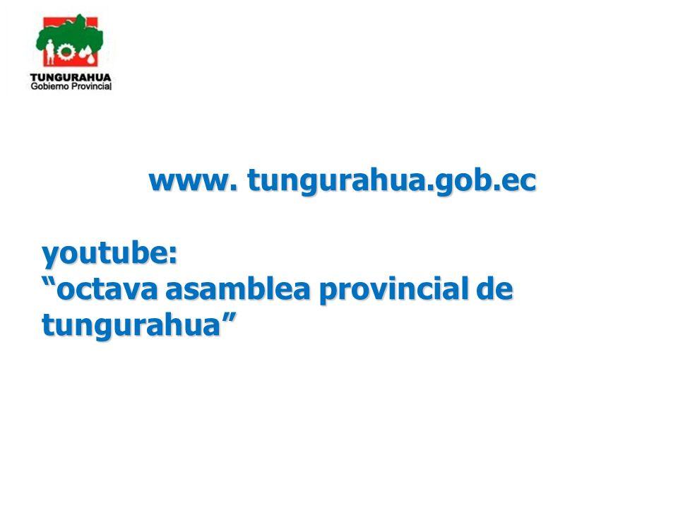 www. tungurahua.gob.ec youtube: octava asamblea provincial de tungurahua