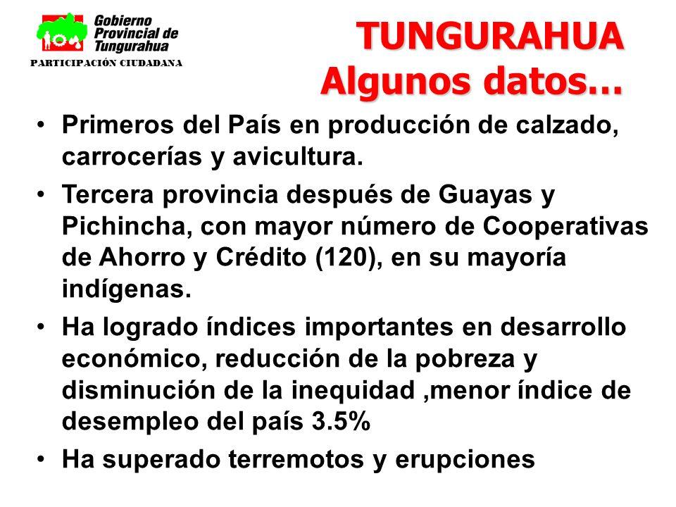 TUNGURAHUA Algunos datos… Primeros del País en producción de calzado, carrocerías y avicultura. Tercera provincia después de Guayas y Pichincha, con m