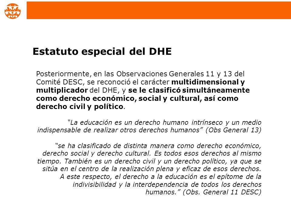 Posteriormente, en las Observaciones Generales 11 y 13 del Comité DESC, se reconoció el carácter multidimensional y multiplicador del DHE, y se le cla