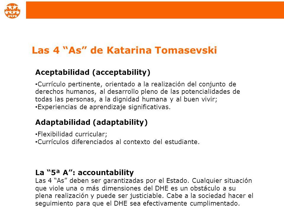 Aceptabilidad (acceptability) Currículo pertinente, orientado a la realización del conjunto de derechos humanos, al desarrollo pleno de las potenciali