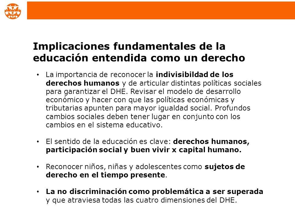 La importancia de reconocer la indivisibildad de los derechos humanos y de articular distintas políticas sociales para garantizar el DHE. Revisar el m
