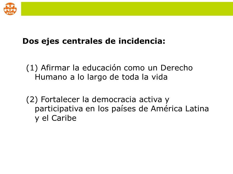 (1) Afirmar la educación como un Derecho Humano a lo largo de toda la vida (2) Fortalecer la democracia activa y participativa en los países de Améric