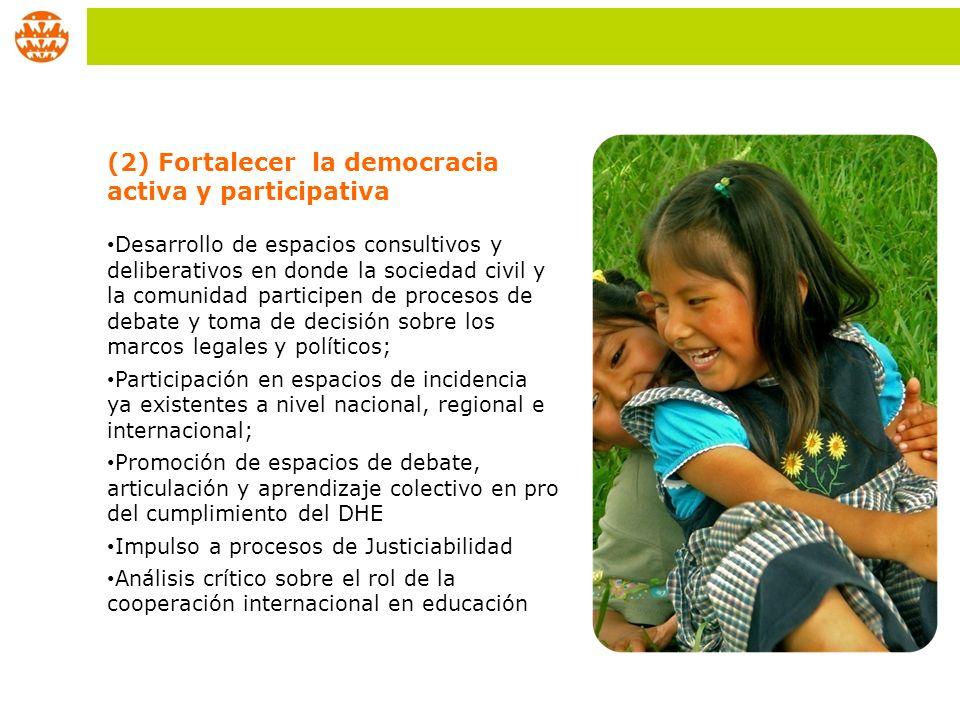 (2) Fortalecer la democracia activa y participativa Desarrollo de espacios consultivos y deliberativos en donde la sociedad civil y la comunidad parti